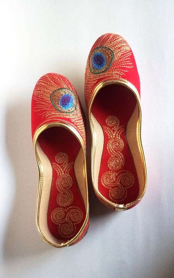Red Shoes For Wedding | Us Size 7 Cherry Red Shoes Velvet Shoes Gold Embroidered Shoes Hot