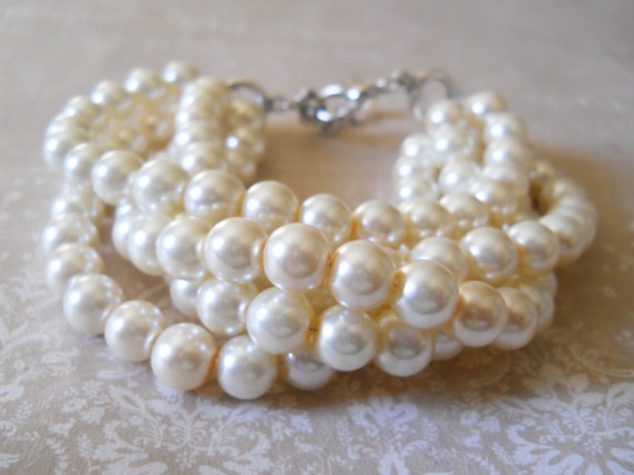 Chunky Pearl Bracelet Ivory Bridesmaids Jewelry Multistrand Wedding Party Bridal For Brides