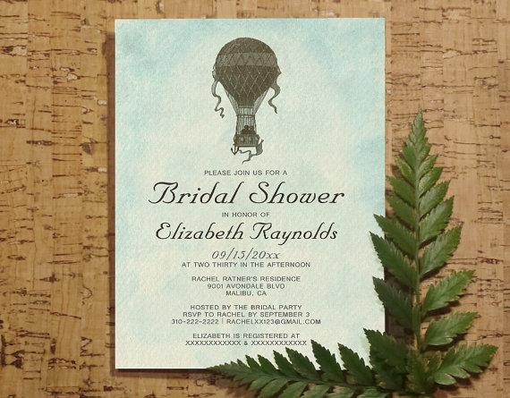 Mariage - Vintage Hot Air Balloon Bridal Invitations, Bridal Shower Invitations, Wedding Party Invites, Printable, Digital PDF, DIY Template, Printed