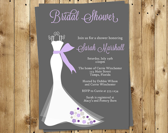 bridal shower invitations purple gray dress wedding set of 10 printed cards free shipping elggp elegant gown gray with purple