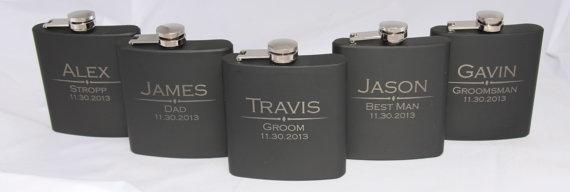Wedding - Engraved Flask- Personalized Black Flasks, Groomsmen gift, Wedding Favor, Best Man, Usher, Father of the Groom, Bride