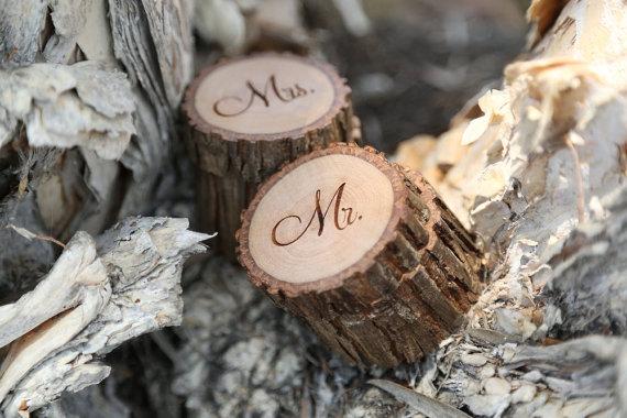 Hochzeit - Engraved Wood Wedding Ring Bearer Slice, Rustic Wooden Ring Holder, Reclaimed Hickory Ring Bearer Pillow - Black Velvet Lined!