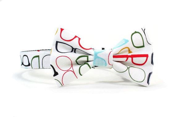 Свадьба - Dog Bow Tie Collar Geek Eye Glasses Print Bowtie