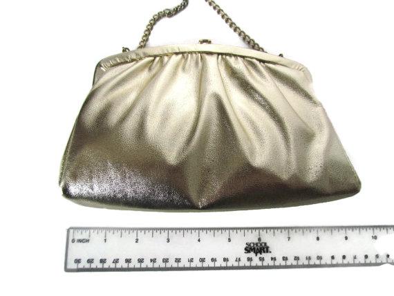Mariage - Gold Bridesmaid Clutch Purse Antique Vintage Bags and Purses Wedding Clutch Handbag Clutches Gold Evening Bag Chain Handle