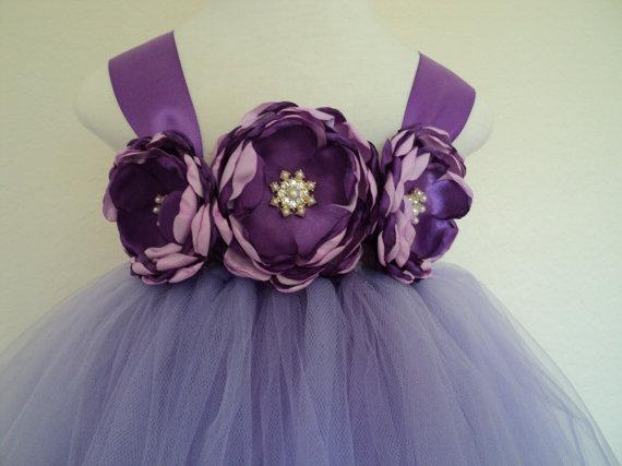 77c856bd9 Ready to ship baby to toddler 2T girl lavender purple tutu dress satin  jewel flowers matching headband wedding birthday pageant flower girl