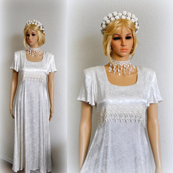Haute simple wedding dress tea length bridal gown vintage for Cinched waist wedding dress