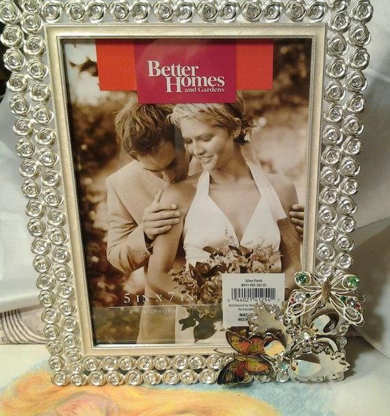 Mariage - vintage costume jewelry brooch pin wedding crystal upcicled repurposed picture photo frame