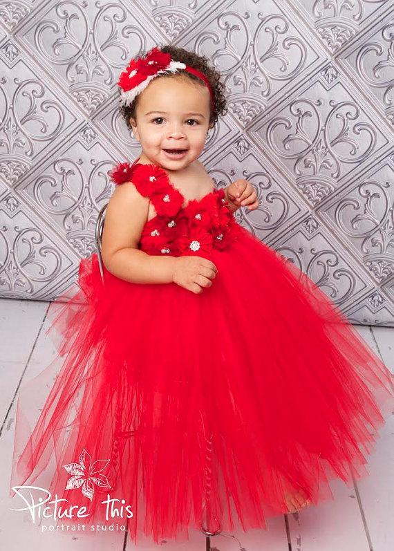 Valentine Tutu Dress Valentines Day Dress Red Flower Girl Dress