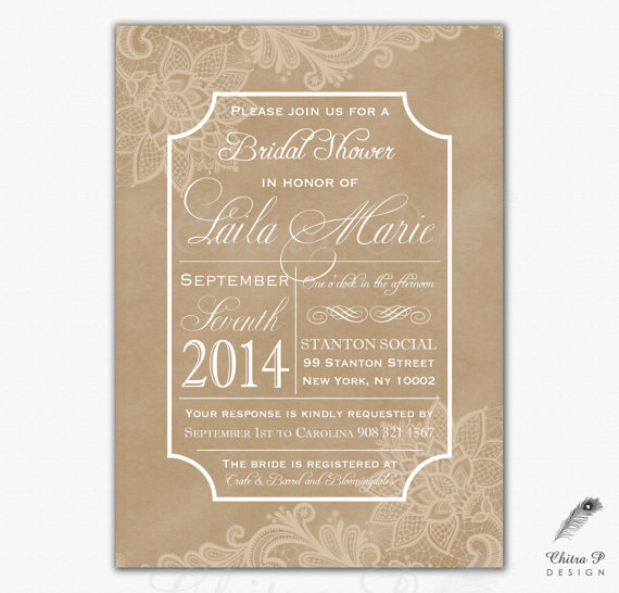 Mariage - Kraft Bridal Shower Invitation - Printed or Printable,  Baby Lace Typography Elegant Rustic Engagement Couples Boho Country - #064
