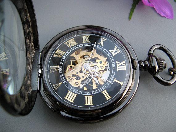 زفاف - Premium Victorian Black & Gold Mechanical Pocket Watch with Watch Chain - Groomsmen Gift - Engravable - Watch - Item MPW295