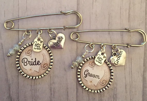 Wedding - Bride Corsage, Bride and Groom Pin, Bridal Shower Decor, Bridal Party, Bachelorette Party, Bridal Accessory, Wedding Keepsake