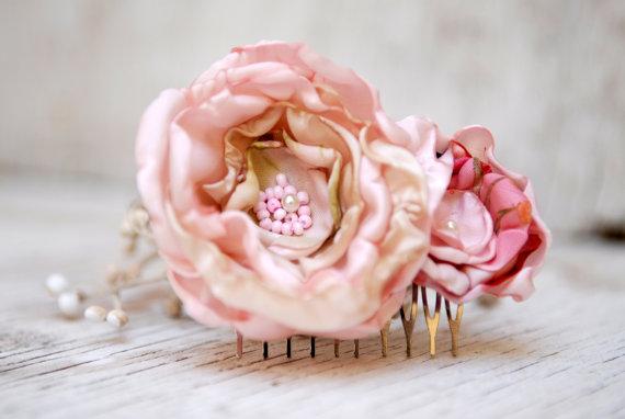 زفاف - Pastel Pink Flowers Hair Comb --- Flowers Hair Piece --- Rustic Wedding Accessory --- Tagt Rdtt
