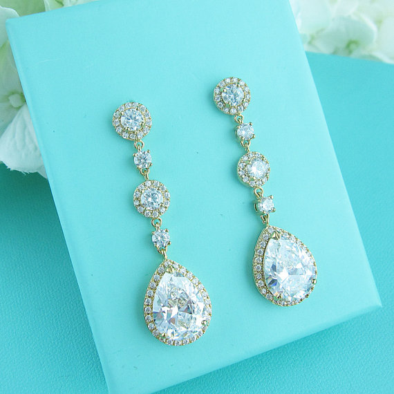 Mariage - Gold Bridal earrings, cubic zirconia earrings, gold wedding jewelry, bridal jewelry, wedding earrings, bridal earrings, long cz earrings