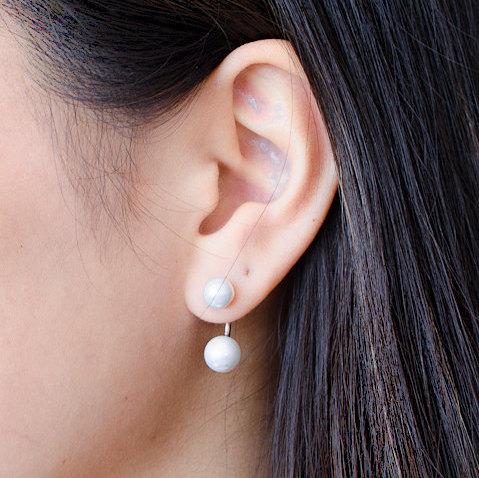 Double Pearl Ear Jacket Sterling Silver S Stud Earrings Wedding Modern Edgy Jewelry Gift Ej004dp