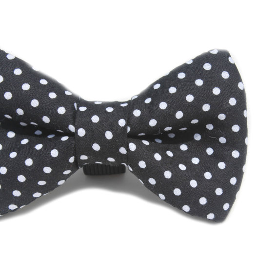 Свадьба - Dog Bow Tie, Black Polka Dot Bow Tie, Doggie Bow TIe