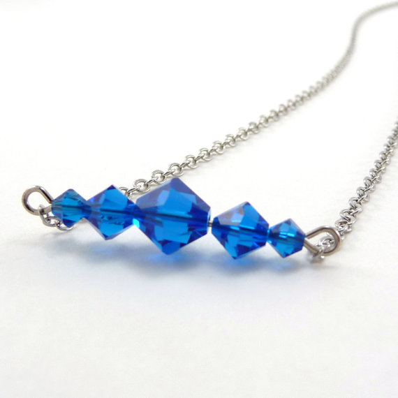Mariage - Crystal Bar Necklace, Capri Blue Crystal, Silver Bar Necklace, Beaded Jewelry, Swarovski Elements, Bride Something Blue, Bridal Jewelry