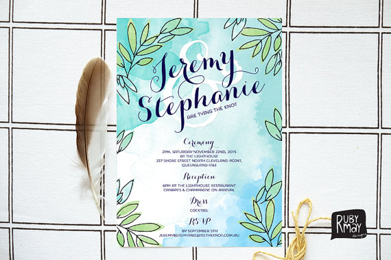 زفاف - Green and Blue Watercolour Wedding Invitation, Turquoise - PRINTED SAMPLE, watercolor, white typography, brush stroke, wreath, olive leaves