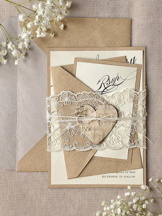 Custom Listing (100) Rustic Lace Wedding Invitation, Calligraphy Wedding  Invitations, Recycled Lace Wedding Invitation, Eco Invitation