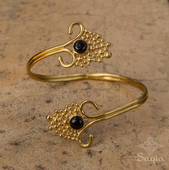 Gold Arm Cuff With Black Onyx Gold Armlet Upper Arm Cuff Bracelet