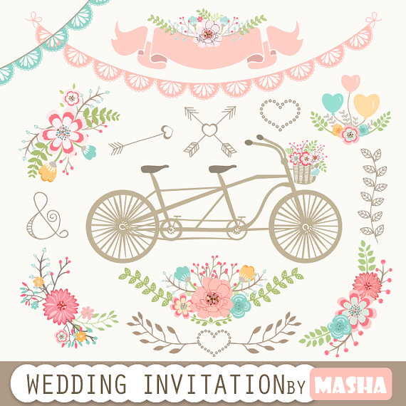 "زفاف - Wedding Invitation Clipart: ""WEDDING INVITATION"" with tandem clipart, flower bouquet, laurels, arrows, banner, lace border for scrapbooking"