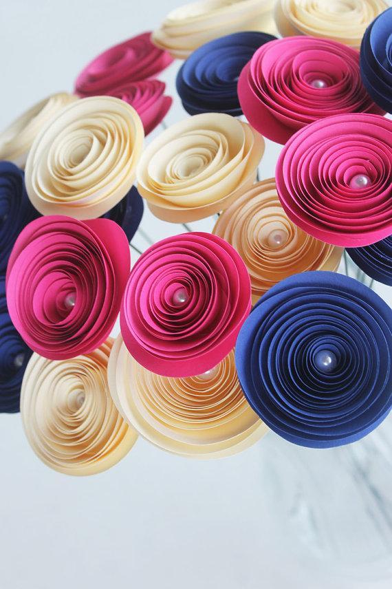 12 Navy Blue Cream Pink Spiral Paper Flowers Wedding Decor