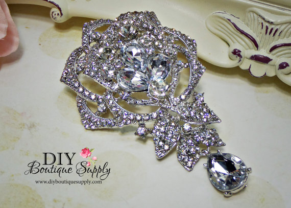 Mariage - Large Wedding Brooch Rhinestone Brooch Pin - Dangle Brooch Bridal Accessories Crystal Brooch Bouquet - Bridal Brooch Sash Pin 95mm 688198