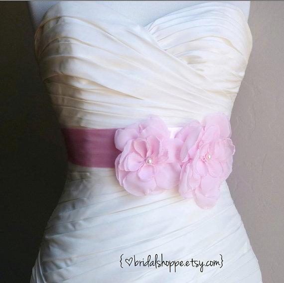"Hochzeit - Ready to Ship and On Sale - Wedding Sash JOSIE DUO - Two Light Pink Flowers on 2"" Pink Bridal Sash"