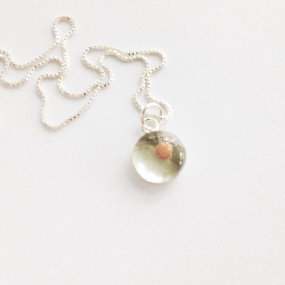 زفاف - mustard seed pendant - teeny tiny sterling silver resin mustard seed pendant with optional necklace