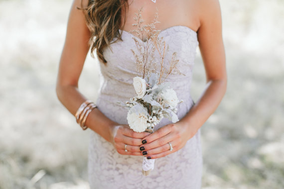 Свадьба - Rustic Dried Bridesmaid Bouquet with Sola Flowers, Tallow Berries and Dusty Miller