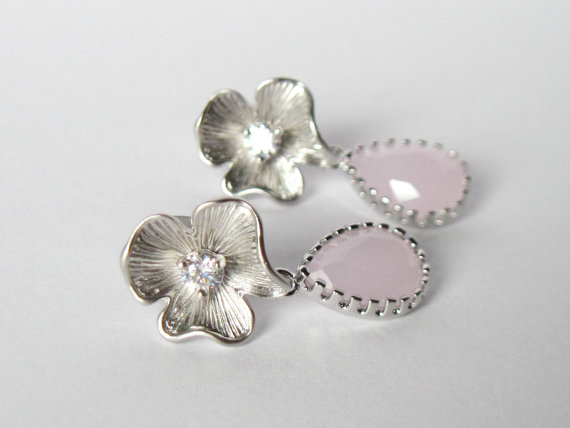 Свадьба - Pastel Earrings, Nature Jewelry, Gift for Her, Rhodium Earrings, Summer Jewelry