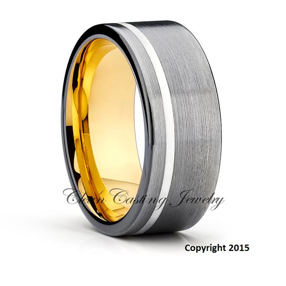 Mariage - Yellow Gold Tungsten Wedding Band,Tungsten Wedding Ring,Gunmetal Tungsten Ring,Anniversary Ring,Engagement Ring,Comfort Fit,Custom