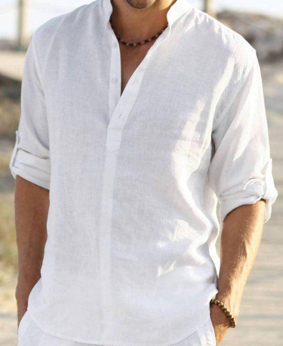 Man white linen shirt beach wedding party special occasion for White linen dress for beach wedding
