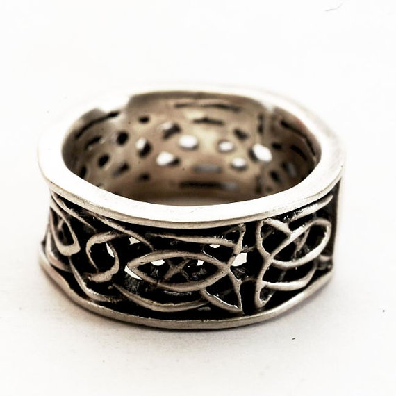 Mariage - 50% OFF Celtic Wedding Engagement Ring in Sterling Silver Woven Trinity Knot Christian Fish Knotwork Design, Handcrafted in Size 4.5 (CS055)