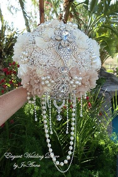 Hochzeit - CASCADING BROOCH Bouquet - Deposit Only for this Gorgeous Custom Bouquet, Brooch Bouquet, Cascading Bouquet, Full price 550