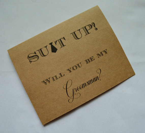 Hochzeit - Will you be my GROOMSMAN Card Funny Groomsmen Card Card SUIT UP wedding party Bridesmaid Best Man Invitation card suit up fun groomsman card