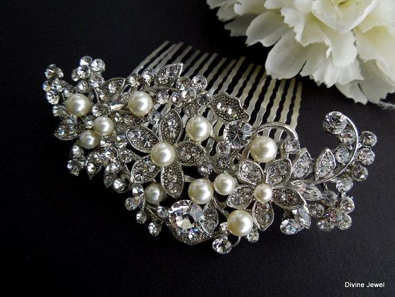 Mariage - Bridal Swarovski Crystal Pearl Wedding Comb,Wedding Hair Accessories,Vintage Style Pearl Leaf Rhinestone Bridal Hair Comb,Rhinestone,ANGELIA