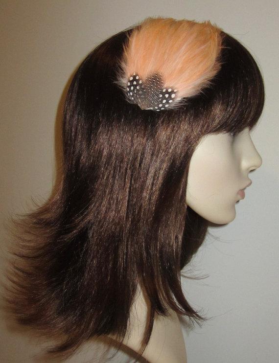 Hochzeit - Peach Pale Apricot Fascinator HAIR CLIP Bridesmaids Hair Accessory Handmade Black White Wedding Headpiece 'Gwen'