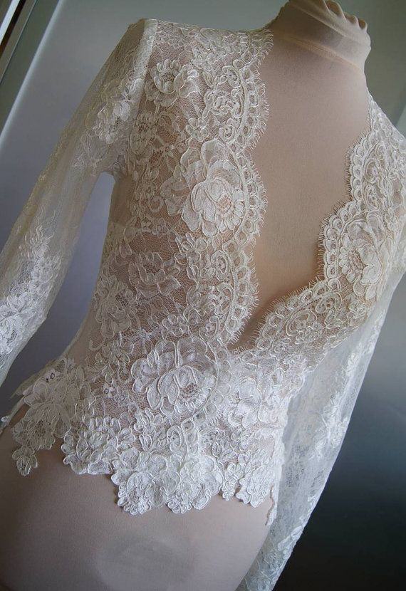Wedding - Wedding Bolero-jacket With Lace, Long Sleeve,short Sleeve, 3/4 Sleeve, Alencon . Unique Beautiful, Romantic Wedding Jacket- Bolero POLA
