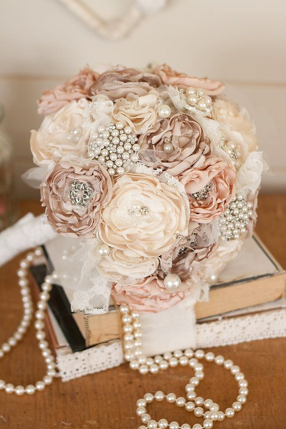 Vintage Inspired Fabric Wedding Bouquet, Satin And Lace And Brooch ...
