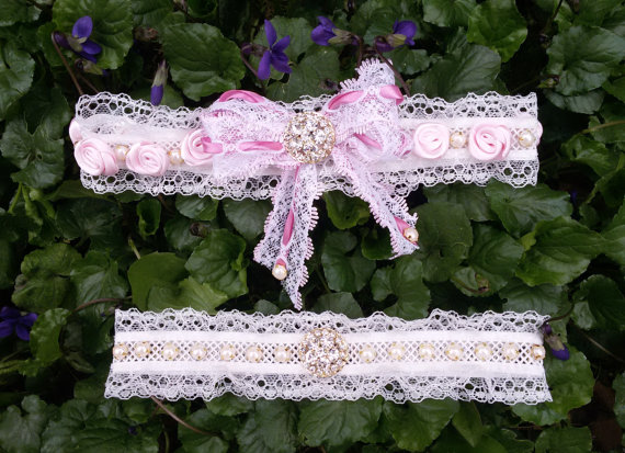 Wedding - bridal garter set, rustic garter, rustic wedding garter, ivory lace garter, wedding leg garter, pearl and lace , ribbon rose garter,