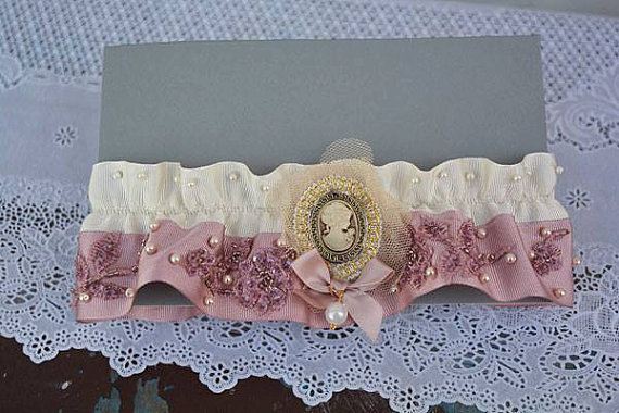 Düğün - Wedding leg garter, Wedding Garter , Ribbon Garter , Wedding Accessory, Pink Lace accessories, Bridal garter