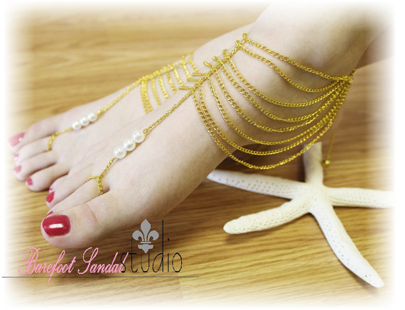 Boho Barefoot Sandals Gold Chain Pearls Womens Barefoot Sandals