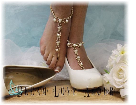 00bba074697a0 Golden Pearl Paris Barefoot sandals beach wedding bridal foot jewelry-  fashion -pearl wedding shoes-glamour footless sandles-Paris style S2