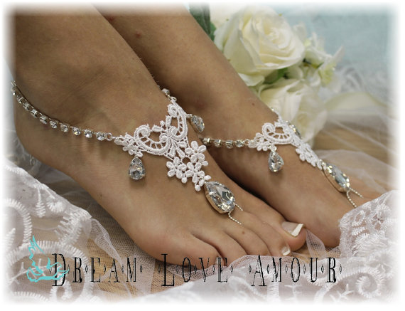 Silver Rhinestone And White Lace Barefoot Sandals Beach Wedding