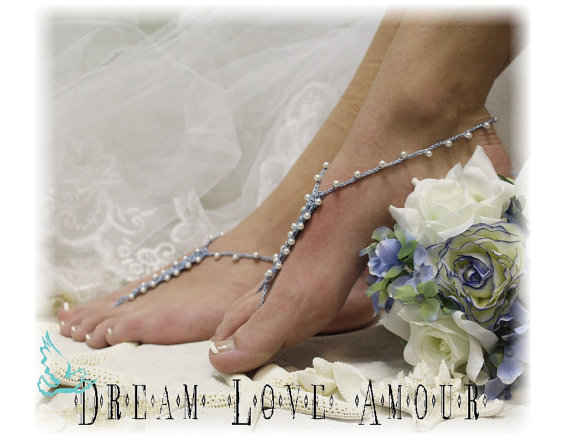 Свадьба - Something blue pearl Barefoot sandals - beach wedding - crochet bridal foot jewelry- boho blue outdoor -wedding shoes-footless sandles