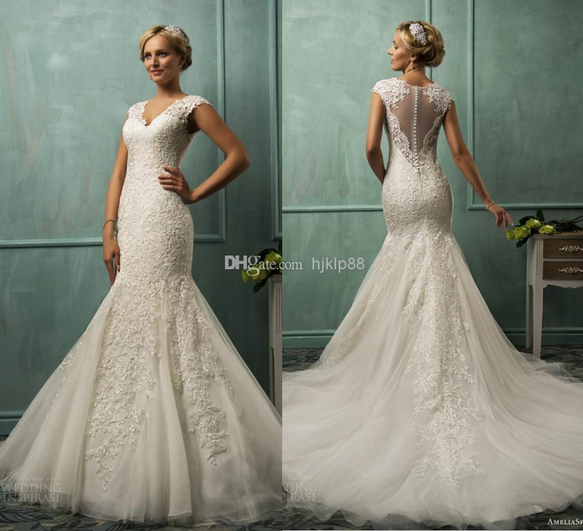 Sexy V Neck Tulle Applique Pearl Illusion Backless Mermaid Wedding Dresses Ru