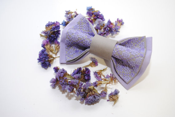 Wedding - EMBROIDERED bow tie LILAC grey pretied bowtie Groomsmen bow ties Handmade bow tie Lilac Lavender wedding Cotton bowtie Groom's bowtie
