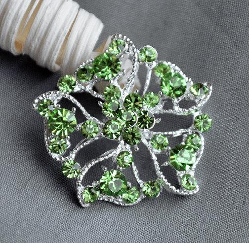 Mariage - 5 Large Rhinestone Button Embellishment Light Mint Green Crystal Wedding Brooch Bouquet Invitation Hair Comb Clip BT298