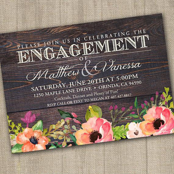 Hochzeit - Rustic Watercolor Flowers Engagement Party Invitation PRINTABLE, Engagement Party Invites, Country Wedding, Floral Wedding