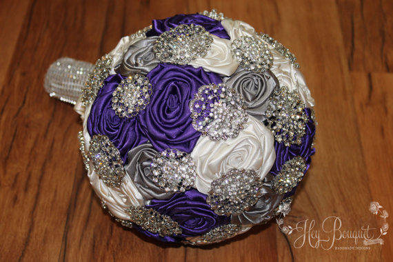 Mariage - Purple, Gray, & Ivory Brooch Bouquet, Brooch Bouquet, Purple Brooch Bouquet, Made To Order